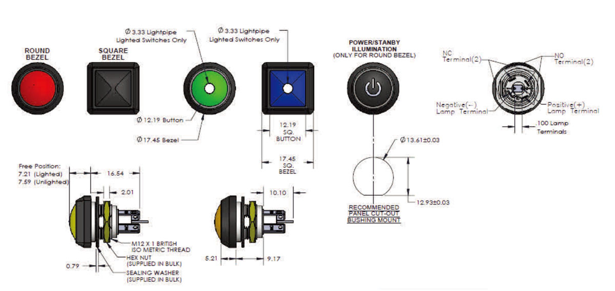 Snap Action Switch(SA48) - Dimensions & Illumination Options